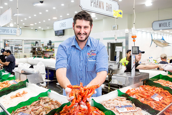 Fresh wild caught prawns at Sydney Fish Market