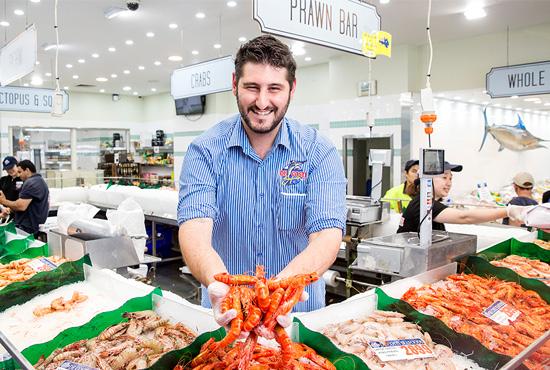 Fresh wild caught prawns at Sydney Fish Market