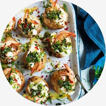 Prawn recipe - Salt baked small jalapeño potatoes with prawns