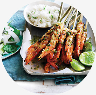 Prawn recipe - Lime and Lemongrass BBQ Skewered Prawns