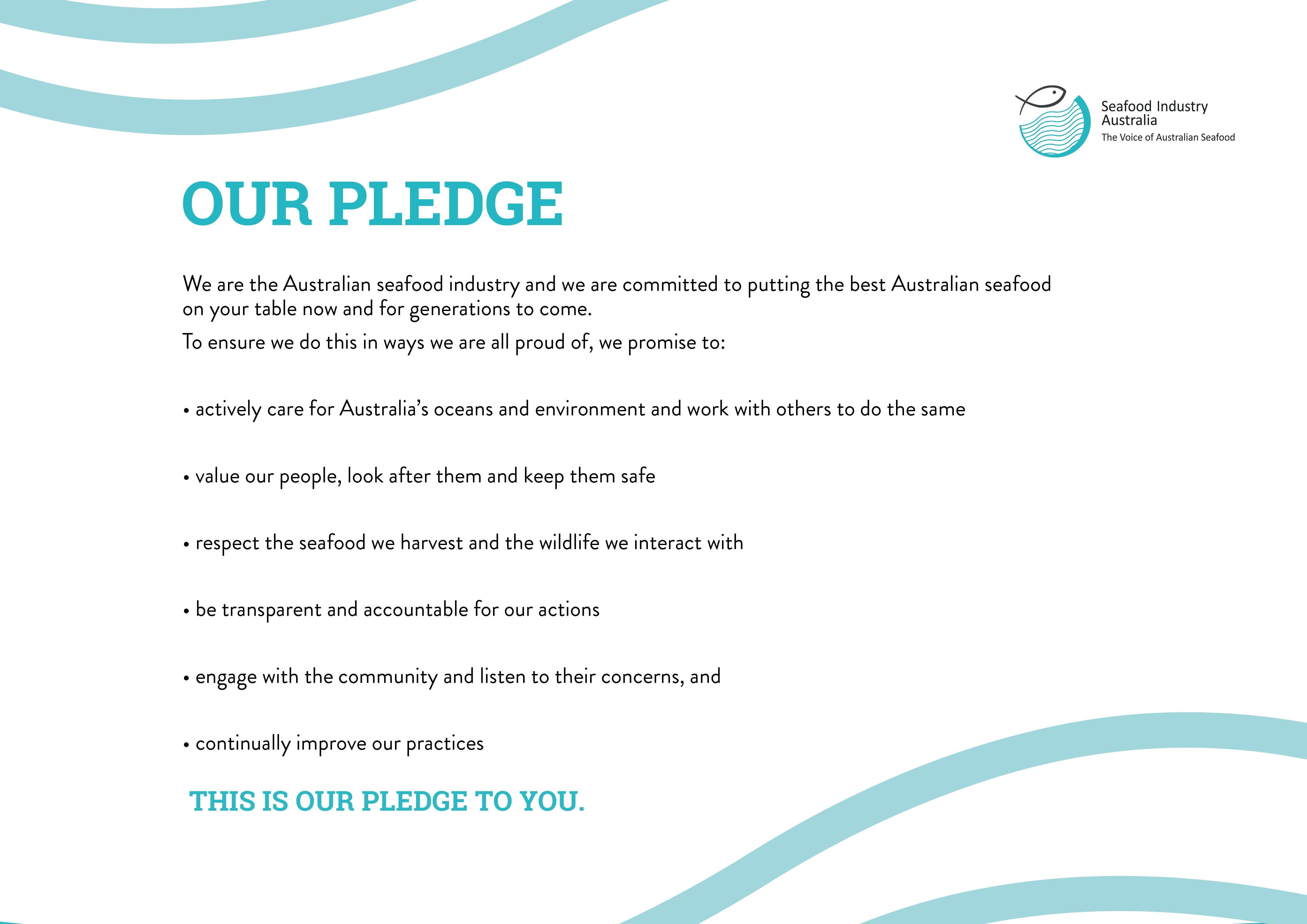 Our pledge: Australian seafood industry response to community values and expectations