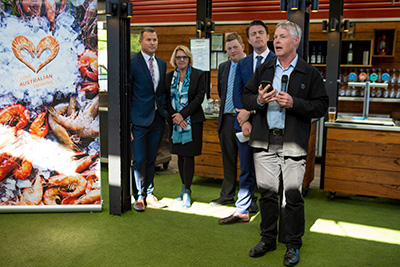 Patrick Hone, FRDC addressing the crowd at the provenance technology project launch in Melbourne Oct 2019